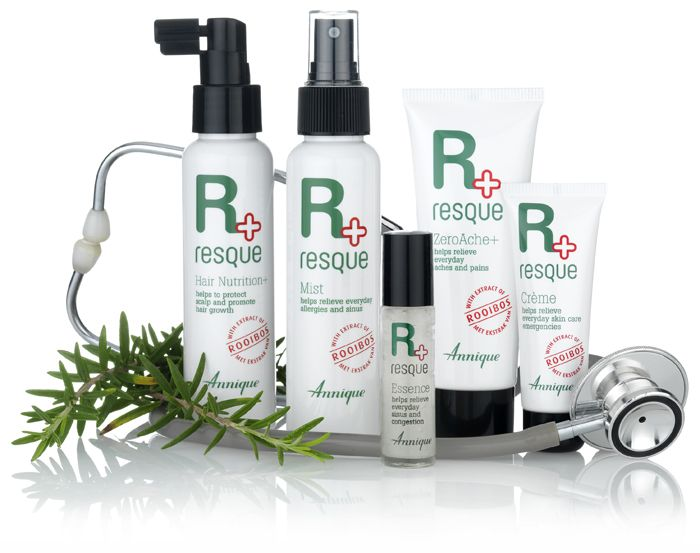 Resque Mist Helps relieve everyday allergies and sinus Resque Mist is formulated with wintergreen, eucalyptus, peppermint oil, camphor and menthol to help provide relief from neck and muscular pain, headaches, sinus, hay-fever and to assist with circulation. Resque Crème Helps relieve everyday skin care emergencies Annique has harnessed the soothing power of Rooibos in Resque Creme, to help provide relief for many everyday skin ailments.