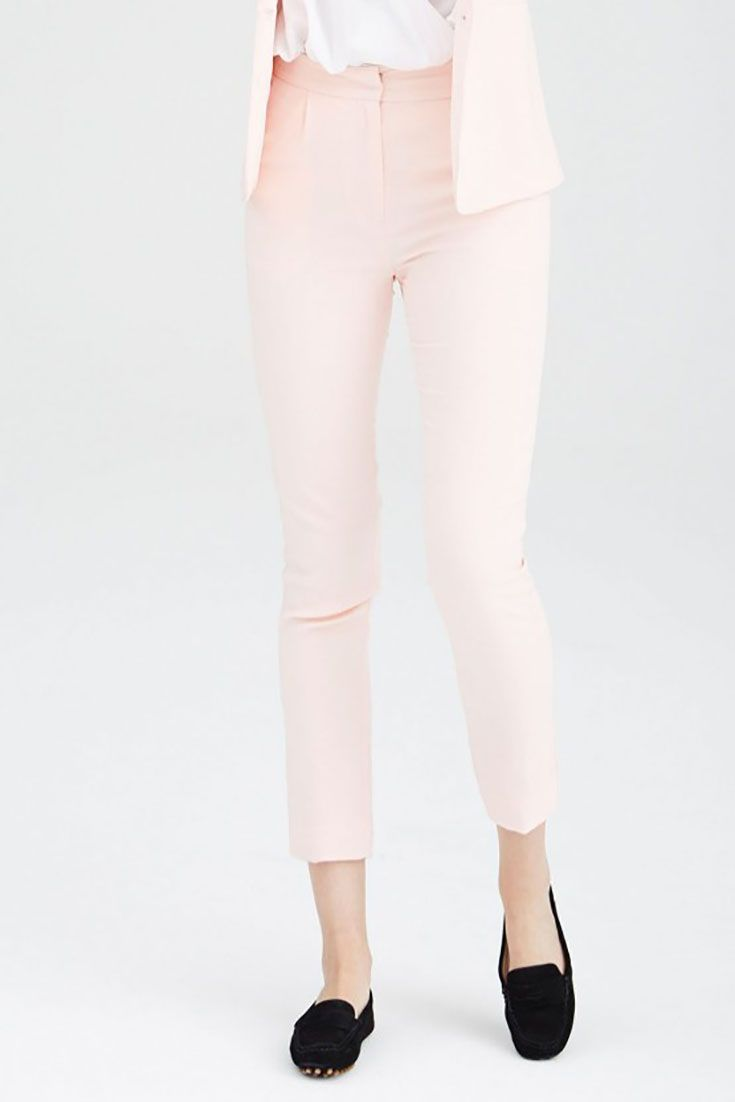 #Jerry blush soft mid-rise cigarette cut  tailored #trousers. 95% Viscose, 5% Elastane