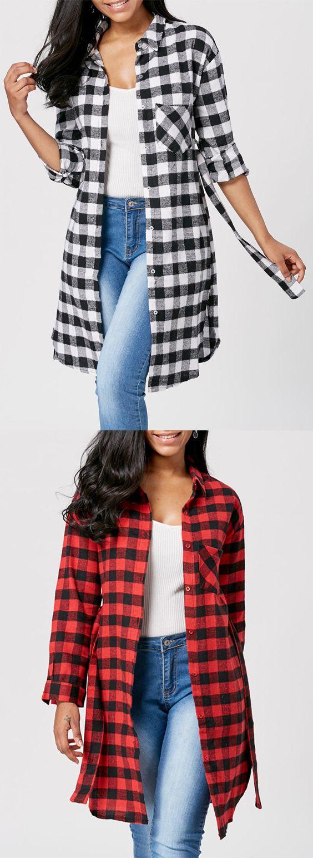 Long Sleeve Flannel Plaid Longline Shirt