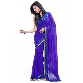 JAWANI DIWANI DESIGNER BLUE GEORGETT SAREE http://www.vendorvilla.com/All-Products