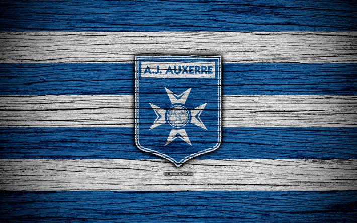 Download wallpapers Auxerre FC, 4k, Ligue 2, football, wooden texture, France, Auxerre, soccer, football club, Liga 2, FC Auxerre
