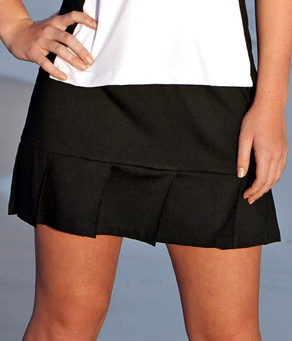 Black Pleated Tennis Skirt with Built In Compression Shorts | Tennis Skirts With Shorts