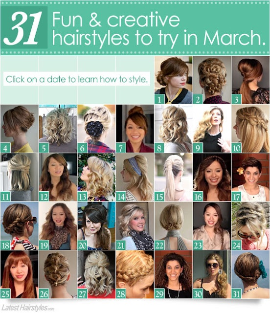 31 Fun and creative hairstyles to try in March {or whenever}: 31 Hairstyles, Hair Ideas, Small Things Blog, Fun Hairstyles, 31 Creative, 31 Styles, Hair Styles, 31 Fun, Creative Hairstyles