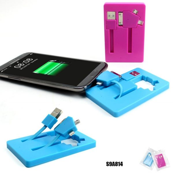S9A814  3 in 1 Card Shaped USB Data and Charging Cable Description:   *3 in 1 Card Shaped USB Data and Charging Cable  *include Micro-5P, Iphone4, Iphone5 adaptors *With big logo area on back side *Unit Size: 9.2*5.8*0.7CM *Material: ABS   Packing: each in a PP bag CTN Dimension: 39*31*16CM/400PCS G.W./N.W./CTN:11/10(kgs