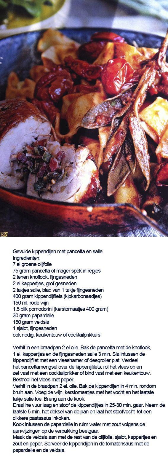Gevulde kippendijen met pancetta en salie - Italiaans hoofdgerecht met kip