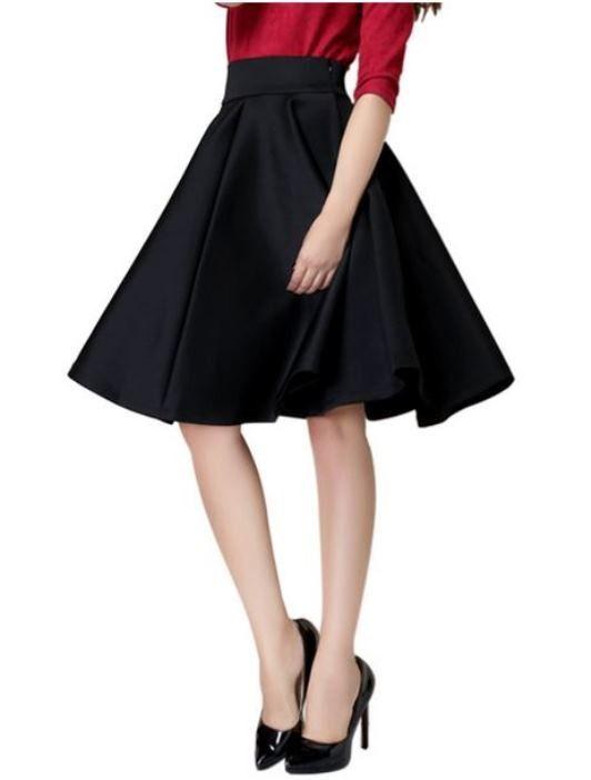Black High Waist A-line Midi Skirt | #USTrendy  www.ustrendy.com