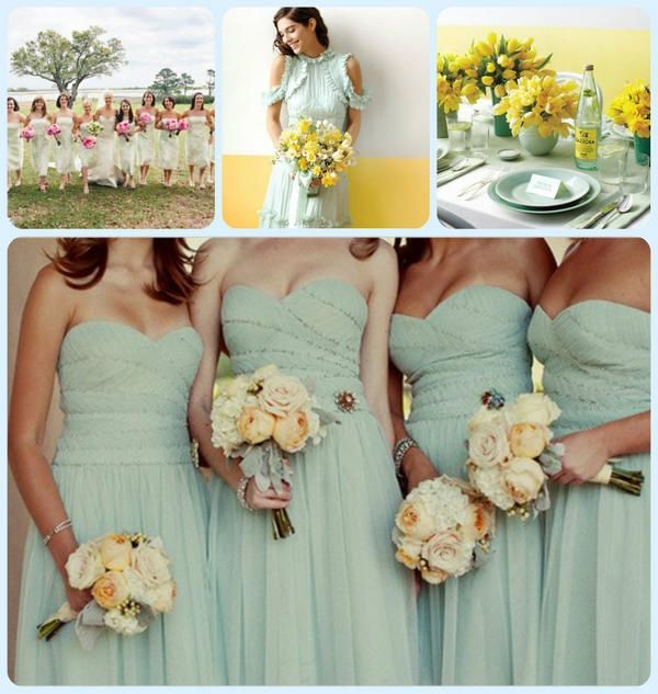 Mint Green Wedding with accents of buttercream yellow and white..maybe more of  a mustard yellow shade