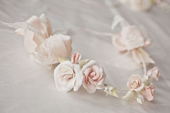 Heirloom wedding bridesmaid and flowergirl headpieces made from clay by Lila