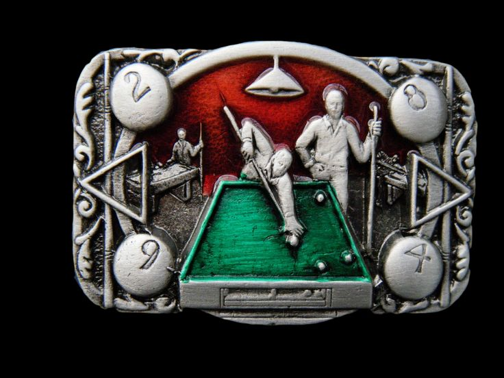 Pool Table Game Billard Snooker Players Belt Buckle #pooltable, poolhall, poolstick, eightball, buckle, buckles, belt buckle, buckles