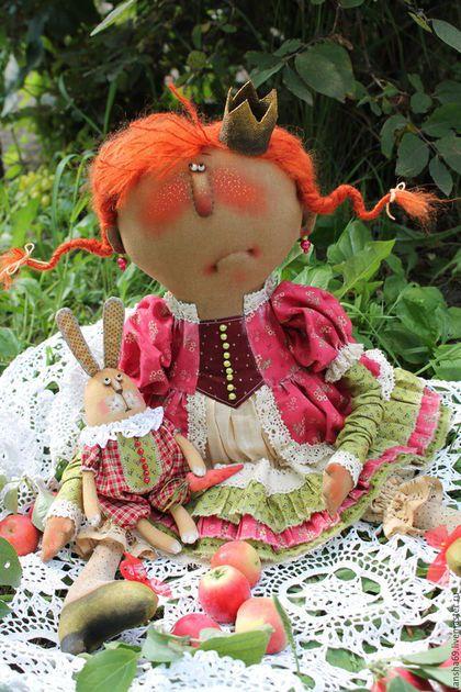 Коллекционные куклы ручной работы. Ярмарка Мастеров - ручная работа. Купить Принцесска и Зайка. Handmade. Комбинированный, ткань