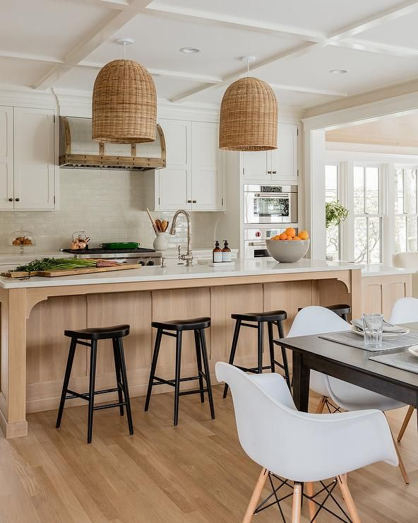 25 White And Wood Kitchen Ideas: From A White Coffered Ceiling, Two Woven Basket Dome Light