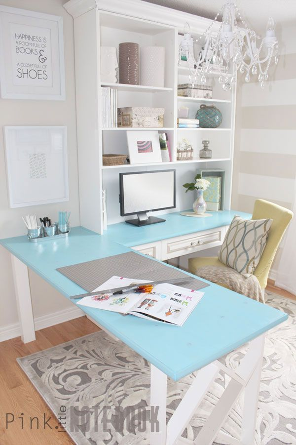 What a sweet office makeover! Love the clean lines and colorful touches.