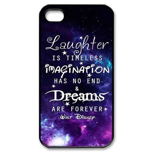 galaxy nebula disney quotes for iphone 4 4S 5 5S 5c Hard Plastic black case