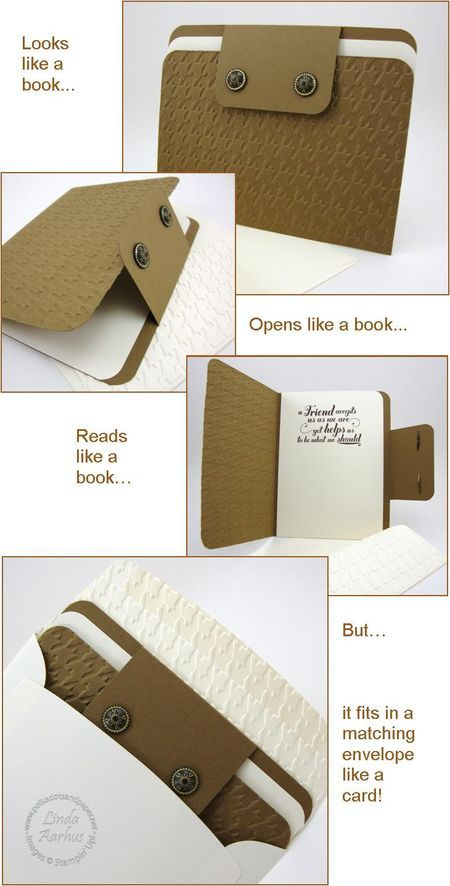"""Looks like a Book, Reads like a Book, Fits in matching envelope like a card.  (BOOK CARD DOWNLOAD)- Feels Good Stamp Set, Soft Suede Card Stock, Very Vanilla Card Stock , Chocolate Chip Stampin' Pad , Houndstooth Embossing Folder , 3/16"""" Corner Punch, Antique Brads, Very Vanilla Medium Envelope"""