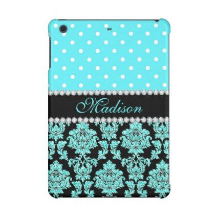 Turquoise Aqua Teal Black Damask Polka Dots Name iPad Mini Retina Covers - floral style flower flowers stylish diy personalize