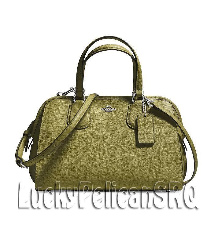 COACH 37138 NOLITA SATCHEL BAG HANDBAG CROSSGRAIN LEATHER Silver/Moss Green NWT #Coach #Satchel