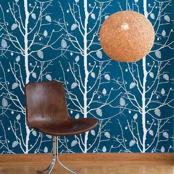 Lampe frs Wohnzimmer  Lampen  Tree wallpaper Family tree wallpaper und Ferm living wallpaper
