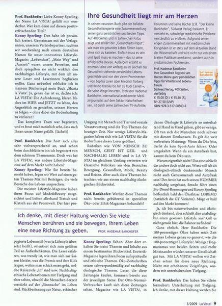 LOHAS TALK mit Hademar Bankhofer MR.GESUNDHEIT und Konny Slperling  aus meiner ehemaligen Zeitung LA VISTA! (hier die 3. Seite des Artikels)
