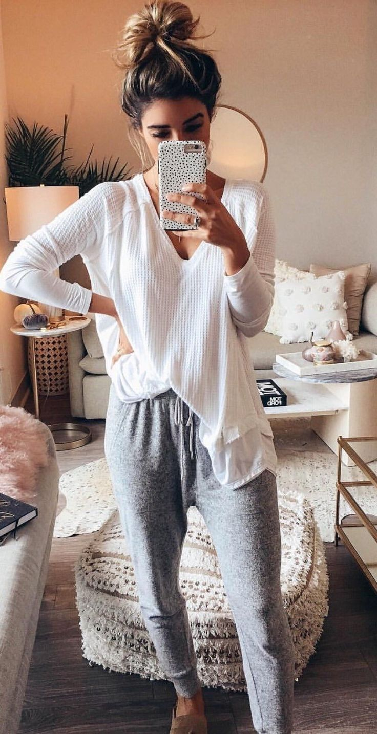 #winter #outfits  white long-sleeved shirt