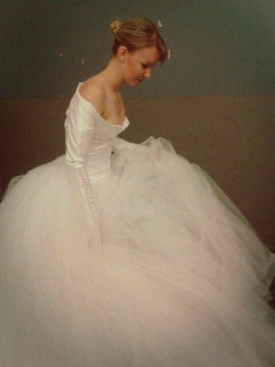 tulle ballgown with satin bodice and pearl buttons