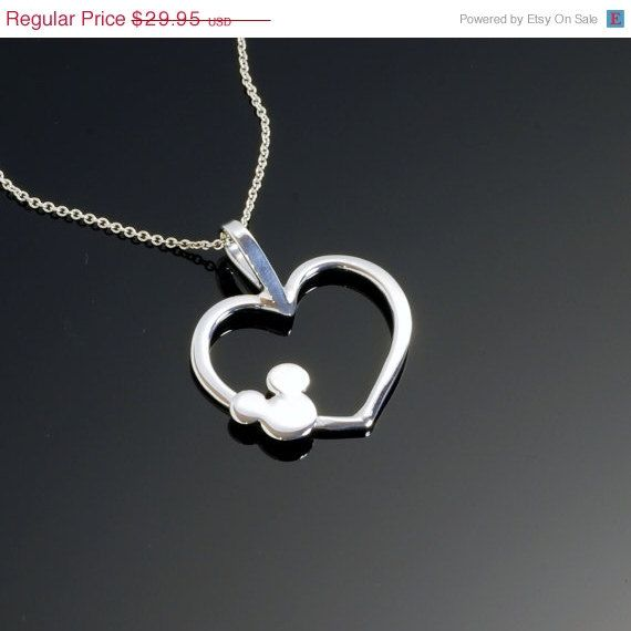 ON SALE Mickey Mouse Necklace - Mickey Mouse Pendant - Disney Jewelry - Argentium Sterling Silver - Heart Pendant - Handmade. $23.96, via Etsy.