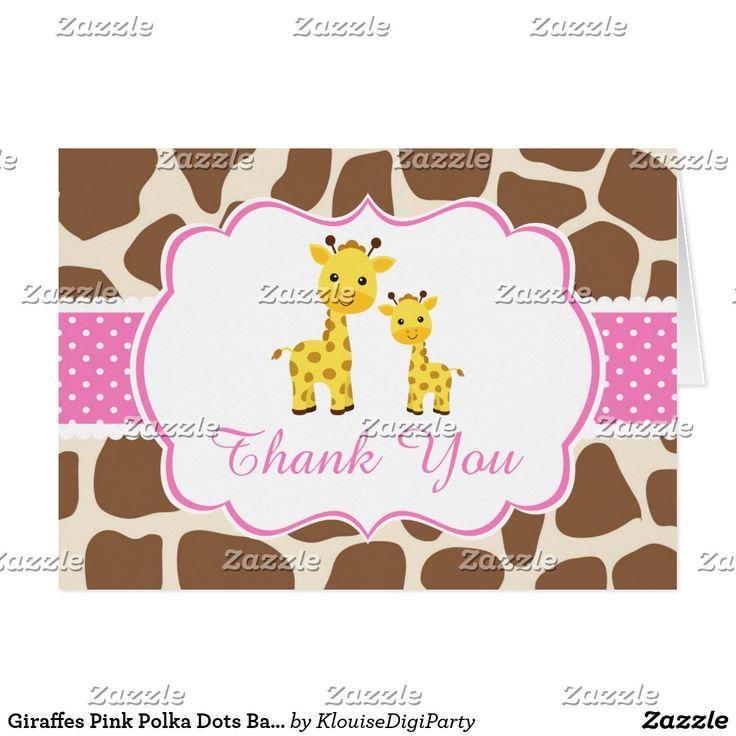 Giraffes Pink Polka Dots Baby Shower Thank You Card