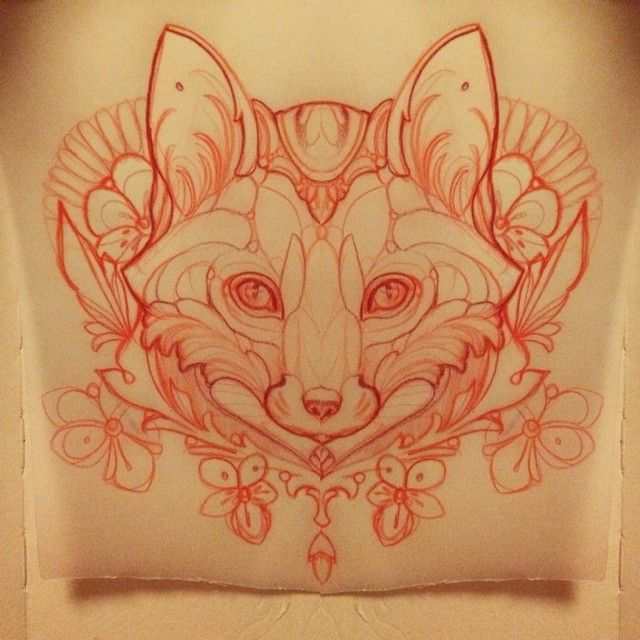 Sketching a fox #fox #tattoo #missjuliet