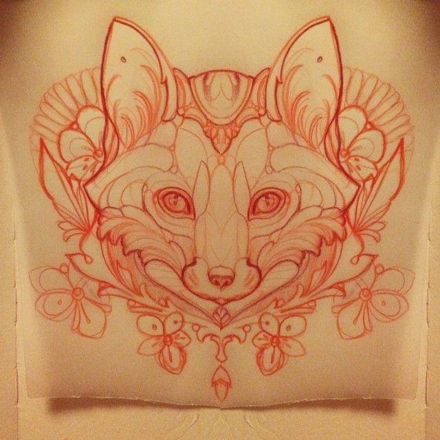 Sketching a fox #fox #tattoo #missjuliet