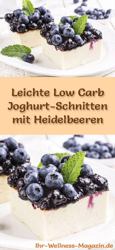 Rezept für leichte Low Carb Joghurt-Schnitten mit Heidelbeeren: Die kalorienreduzierte Heidelbeer-Joghurt-Schnitten werden ohne backen und ohne Zucker und Getreidemehl zubereitet. Sie sind kohlenhydratarm ...
