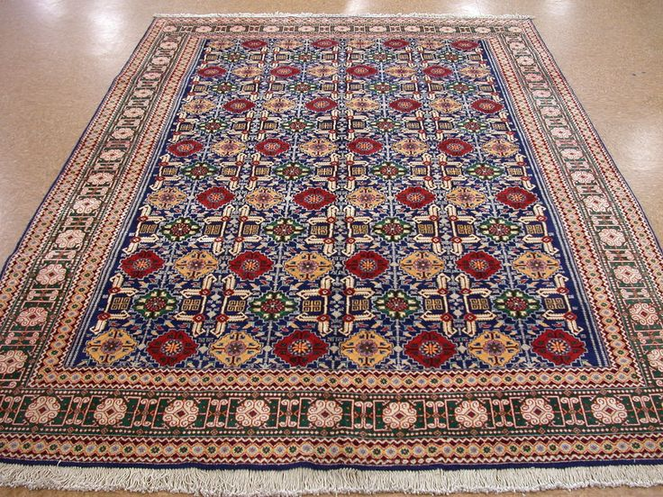 7 X 10 Persian Tabriz Hand Knotted Wool Traditional Blue Red Oriental Rug Carpet
