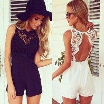 Sexy Backless Lace Spliced Jumpsuit Shorts