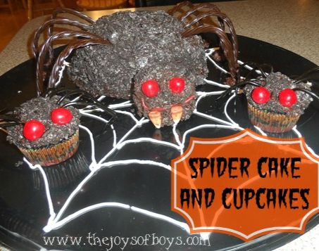 Spider Cake and cupcakes from The Joys of Boys
