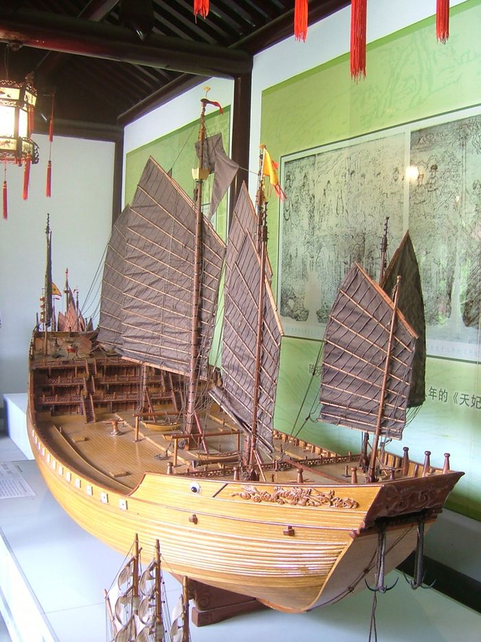 A model of Ming Dynasty Admiral Zheng He's treasure ship that toured the half of the world in the early 15th century