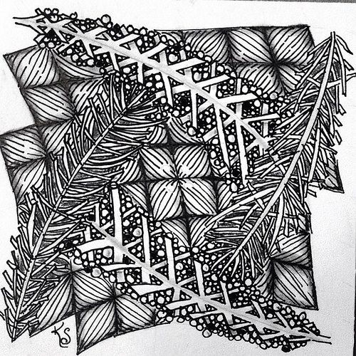 """#zentangle 2015-033, """"One Zentangle A Day"""" day 15 featuring locar (with tipple), verdigogh and yincut. Love yincut! Hate locar and maybe could learn to love verdigogh. I used string 037 from TanglePatterns. 