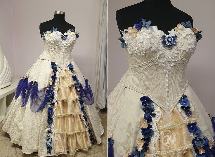 Cream and Royal Blue Bridal Gown by Firefly-Path.deviantart.com on @DeviantArt
