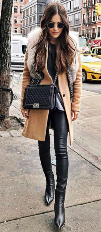 Paola Alberdi + classic winter style + faux fur stole trend + gorgeous beige coat + soft, timeless chic + faux fur collar + traditional Christmas aesthetic!   Coat: Rag & Bone, Shoes: Celine.