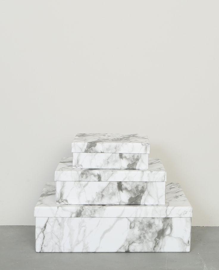 boîtes effet marbre - lot de 3