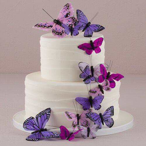 Hand Painted Butterfly Cake Decor Set- (24) Assorted Sizes You've heard the old saying something borrowed, something blue for a wedding but we bet not many brides have thought of blue butterflies. The