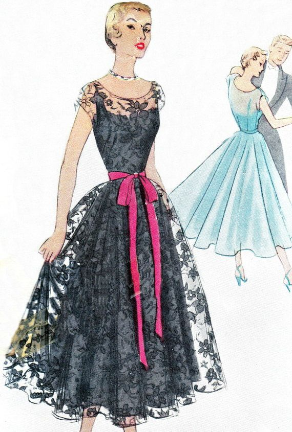 1950s Evening Dress Pattern McCall 8035 Full Skirt Evening Gown Sheer Lace Overlay Womens Vintage Sewing Pattern Bust 32
