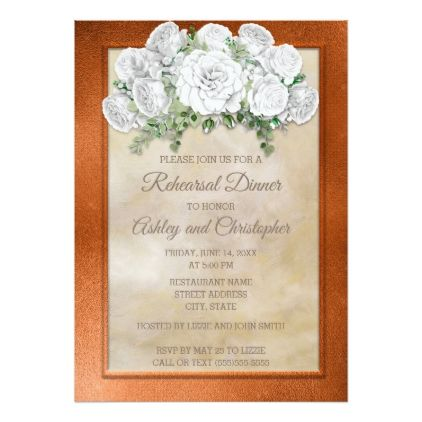Elegant Copper White Floral Wedding Rehearsal Card - floral style flower flowers stylish diy personalize