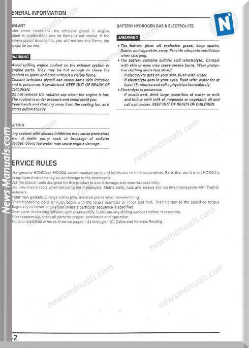 Honda 99 02 Cbr1100xx Service Manual Manual Repair Guide Honda Service