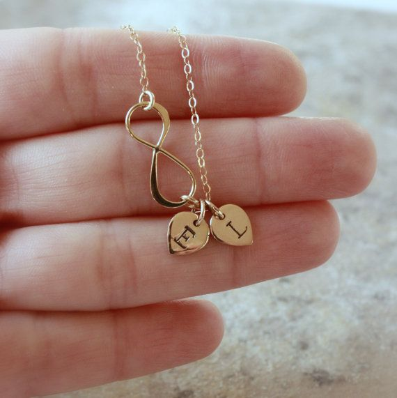 gold infinity necklace personalized jewelry monogram. Black Bedroom Furniture Sets. Home Design Ideas
