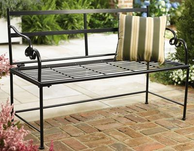 white metal garden bench ebay outdoor cushion black chair uk