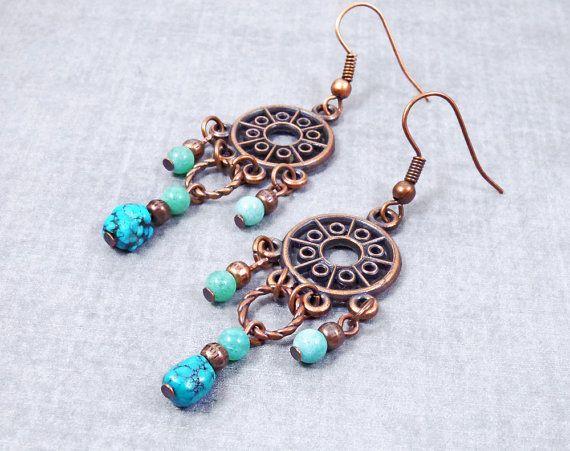 Boho earrings turquoise jewelry Girlfriend Gift Turquoise