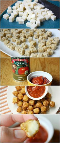 Dip mozzarella balls in flour, then egg, then crumbs mixed with some Italian seasoning. Cook in deep fryer for 1 min. Best mozzarella bites Ive ever had.