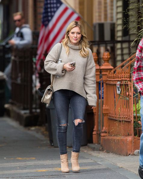 Super cute taupe sweater and bag. From the creator of Sex and The City, 'Younger' stars Sutton Foster, Hilary Duff, Debi Mazar, Miriam Shor and Nico Tortorella. Discover full episodes at http://www.tvland.com/shows/younger.