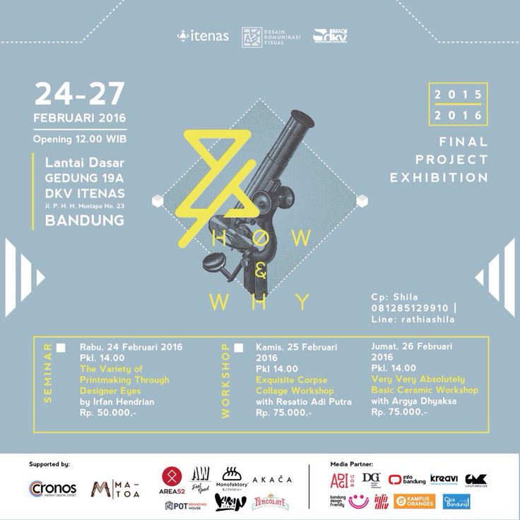 How & Why DKV ITENAS Final Project Exhibition, 24-27 Februari 2016, Lantai Dasar Gd. 19 DKV ITENAS