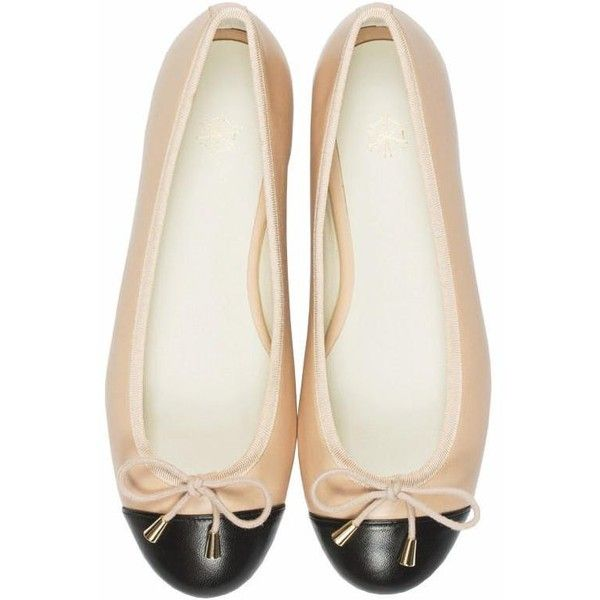 Calla ballet flats in black & nude ($199) ❤ liked on Polyvore featuring shoes, flats, black skimmer, leather cap, black leather flats, black flat shoes and black leather cap