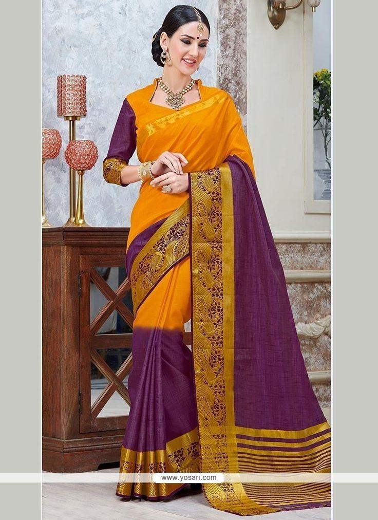 Tempting Tussar Silk Patch Border Work Trendy Saree Model: YOSAR8409