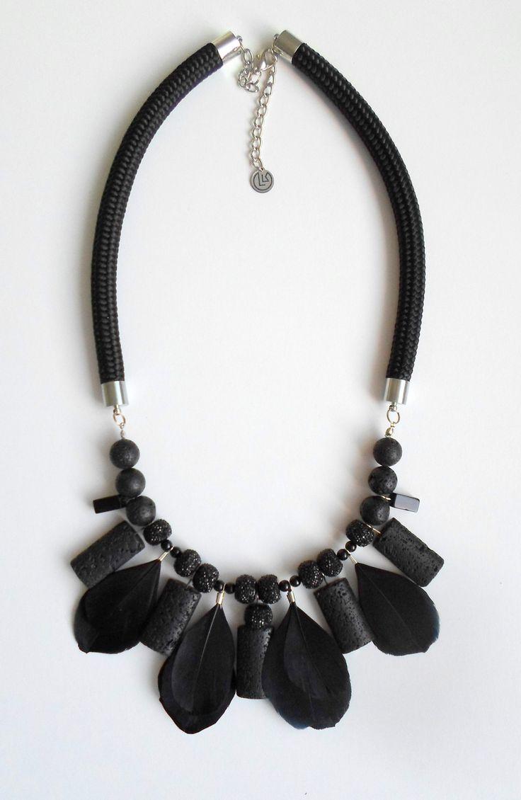#statement #necklace #statementnecklace #lavastone #black